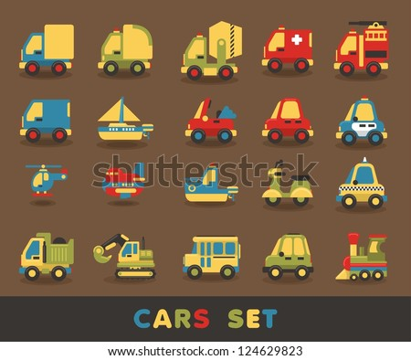 colorful car set, vector elements - stock vector
