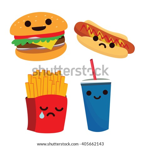 Colorful cartoon fast food and takeaways characters with hot dog, burger, soda, French fries, cheeseburger, vector illustration isolated on white - stock vector