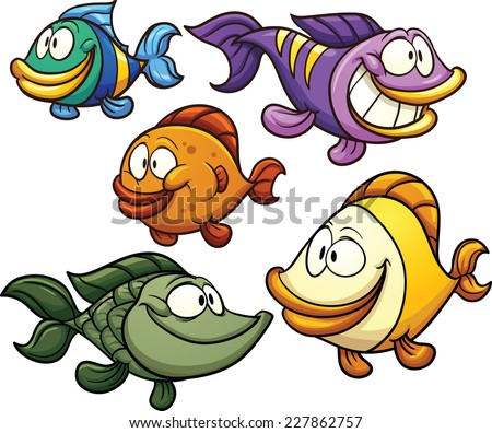 Colorful cartoon fish. Vector clip art illustration with simple gradients. Each on a separate layer. - stock vector