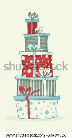 Colorful cartoon gift boxes for Christmas or birthday card. - stock vector