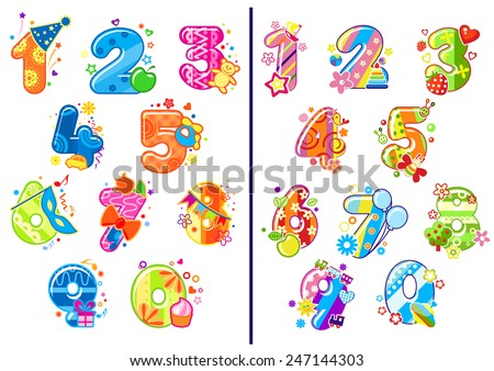 Colorful cartoon glossy numbers and digits adorned toys, flowers, balloons, fruits and party decoration elements for birthday anniversary or education design - stock vector