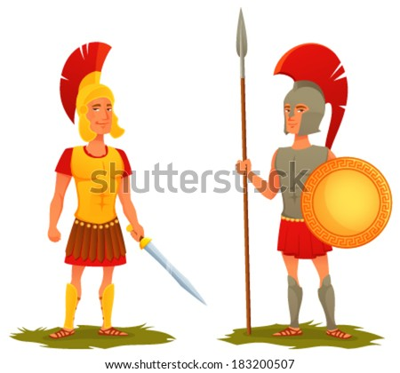 colorful cartoon illustration of ancient Roman and Greek soldier - stock vector
