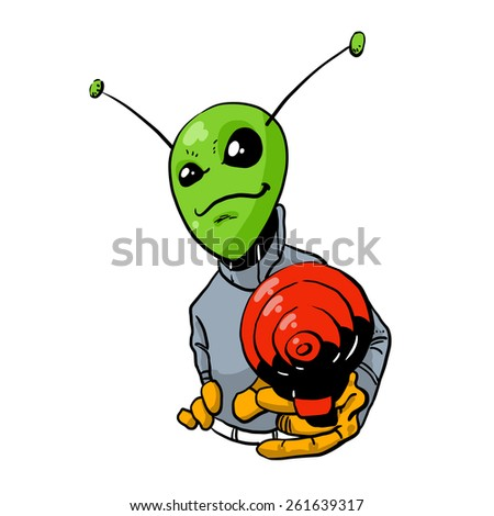 Colorful Cartoon image alien on a white background. Vector illustration - stock vector