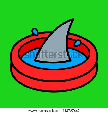Colorful cartoon paddling pool with a shark fin rising above the water over a bright green background in a conceptual vector illustration for kids - stock vector