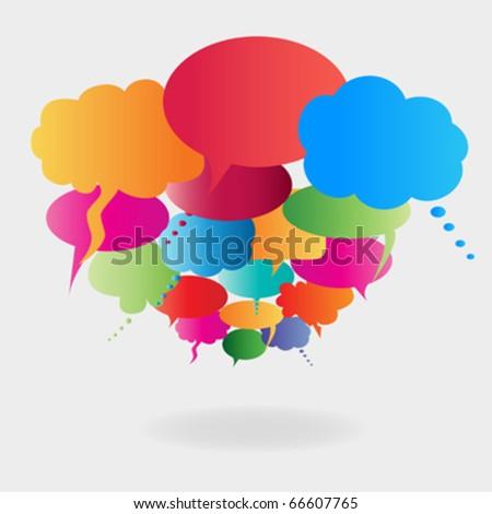 Colorful cartoon speech bubbles - stock vector