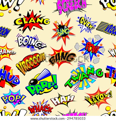 Colorful cartoon text captions. Explosions and noises. Vector wallpaper background that repeats left, right, up and down  - stock vector