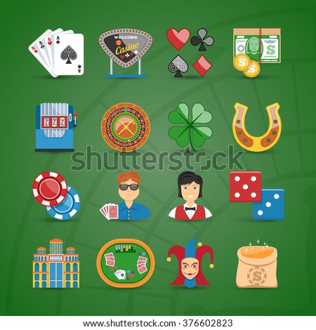 Colorful Casino And Gambling Flat Icons Set - stock vector