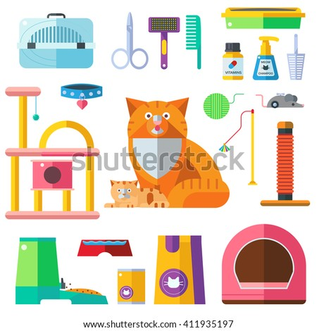 Colorful cat accessory and cute vector animal icons collection pet equipment elements. Cat food and Accessories isolated on white. Cat accessories and food, domestic feline cat accessories - stock vector