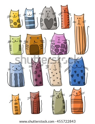 Colorful cats collection, sketch for your design - stock vector