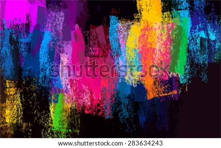 Colorful chalk brush strokes background. Vector version - stock vector