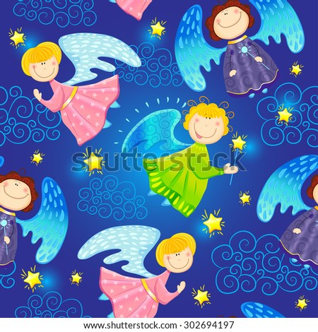 Colorful childlike seamless pattern with fairies and stars. Vector pattern - stock vector