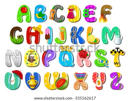 Colorful children's alphabet - stock vector
