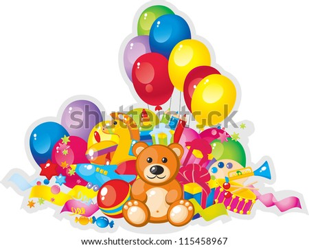 colorful children toys and balloons - stock vector