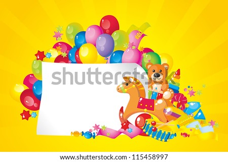 colorful children toys and frame for your text - stock vector