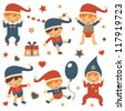 Colorful Christmas babies collection - stock vector