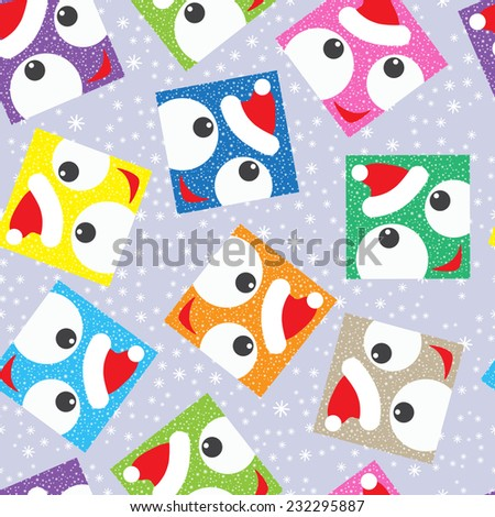 Colorful Christmas background with funny square face. Christmas seamless pattern. New Year background. Holiday background.  - stock vector