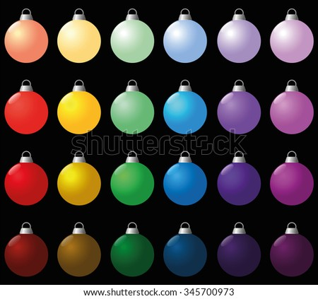 Colorful christmas balls. Isolated vector illustration over black. - stock vector