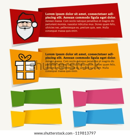 colorful christmas banner origami style | santa claus and gift icon - stock vector