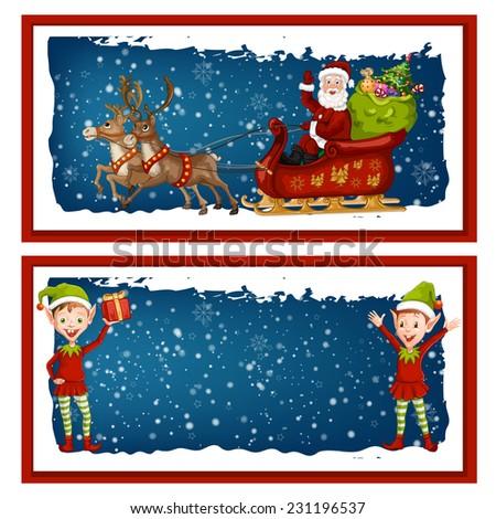 Colorful Christmas banners. - stock vector
