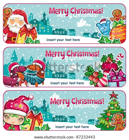 Colorful Christmas banners. Merry Christmas and Happy new year! - stock vector