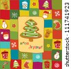 Colorful Christmas card with gingerbread design elements - stock vector