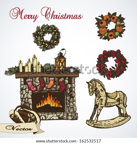 Colorful Christmas collection. Vector illustration for greeting cards, invitations and other printing and web projects. - stock vector