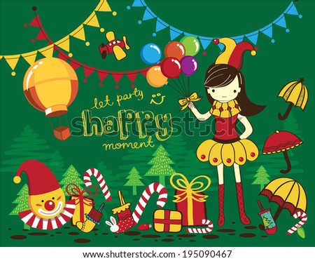 Colorful Christmas Drawing of Clown - stock vector