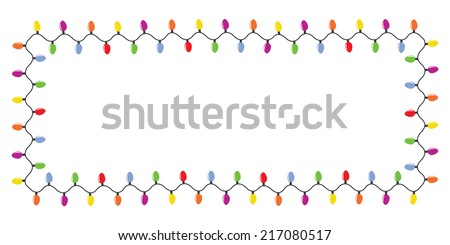 Colorful christmas lights border isolated on white background - stock vector