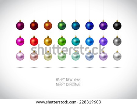 Colorful Christmas ornaments isolated on white background. Hanging Christmas Decoration. Happy New Year and Merry Christmas label. Red,Gold, Blue, Green christmas balls. Vector illustration. - stock vector