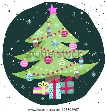 Colorful Christmas poster with cute cartoon fir-tree with toys, garlands and gifts on decorative messy circle. Bright festive illustration on a grungy backdrop. - stock vector