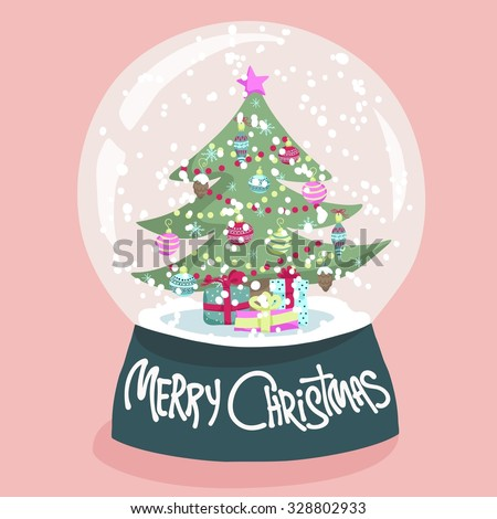 Colorful Christmas poster with cute cartoon snow globe with fir-tree on green stand. Bright festive illustration and text Merry Christmas on a light-pink backdrop. - stock vector