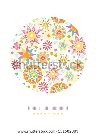 Colorful Christmas Stars Circle Decor Pattern Background - stock vector