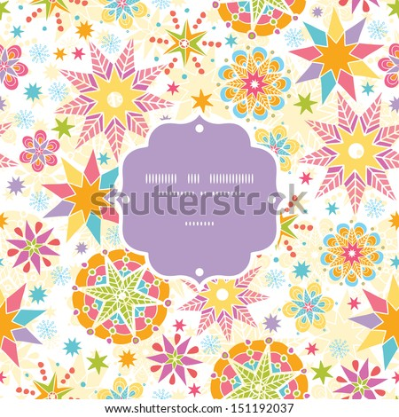 Colorful Christmas Stars Frame Seamless Pattern Background - stock vector