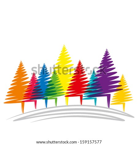 colorful Christmas tree vector - stock vector