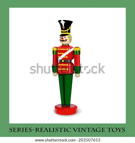 Colorful Christmas Wooden Soldier  , Series-Realistic vintage toys - stock vector