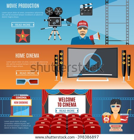 Colorful Cinema Flat Horizontal Banners Set. Welcome To Cinema. Making Film. Home Cinema. Cinema Objects And Web Elements Collection. Vector Illustration - stock vector