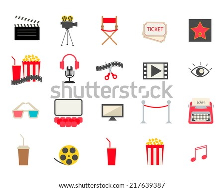 Colorful cinema icons set isolated on white background, vector illustration. Includes popcorn, soda, tickets, director chair, camera, fame star etc. - stock vector