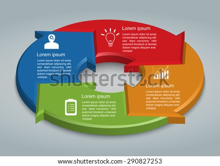 Colorful Circle Arrows With Business Icon And Information Text Design. 4 Options, 3D Design, Financial and Business Infographic, Life Cycle Diagram,Workflow/Element Layout Design. Vector Illustration. - stock vector