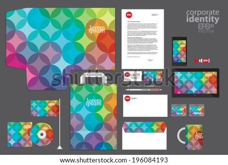 Colorful circle corporate identity template design. Vintage retro company style. Vector illustration. - stock vector