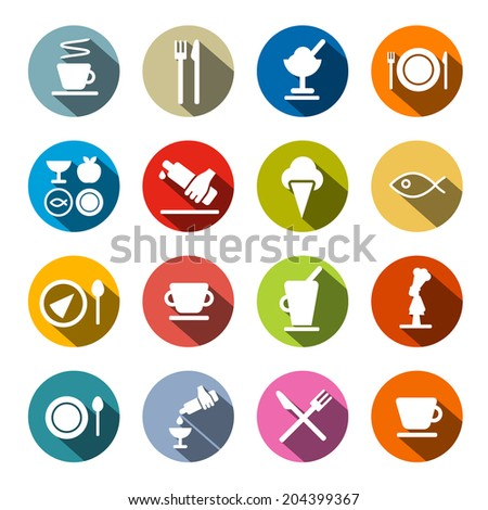 Colorful Circle Flat Design Vector Restaurant - Food Icons Set  - stock vector
