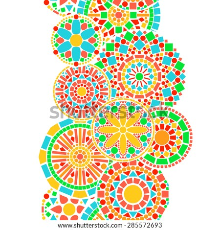 Colorful circle floral mandala border in green and orange on white seamless pattern, vector - stock vector