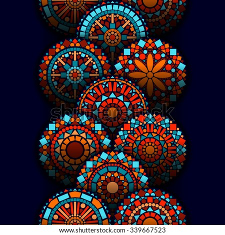 Colorful circle flower mandalas geometric seamless border in blue red and orange, vector - stock vector