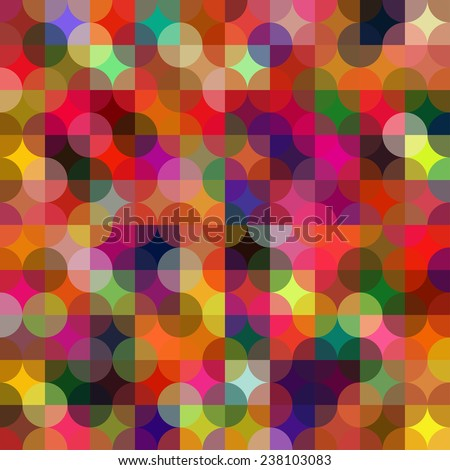 Colorful circle square geometric shapes seamless pattern. Multicolor abstract background. - stock vector