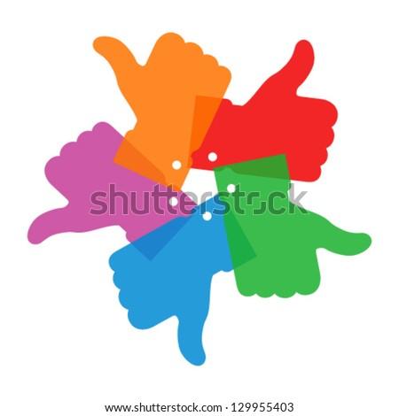 Colorful circle thumb up icons, vector illustration - stock vector