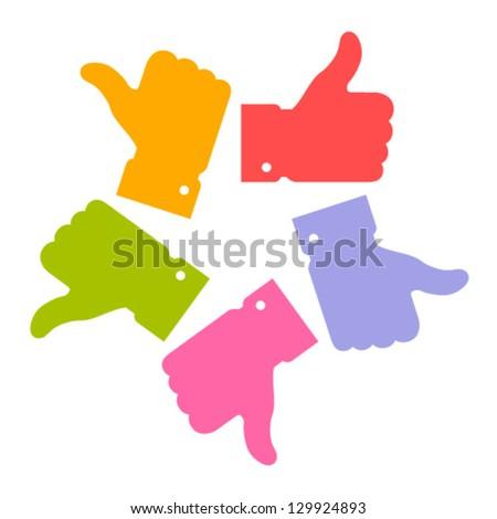 Colorful circle thumb up icons, vector logo - stock vector
