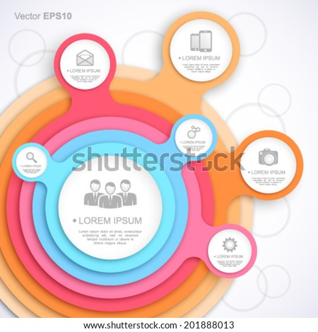 Colorful circle web template. - stock vector