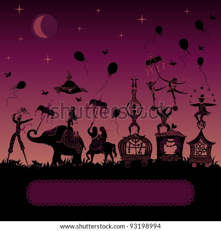 colorful circus caravan by night with magician, elephant, dancer, acrobat, mermaid and other fun characters - stock vector