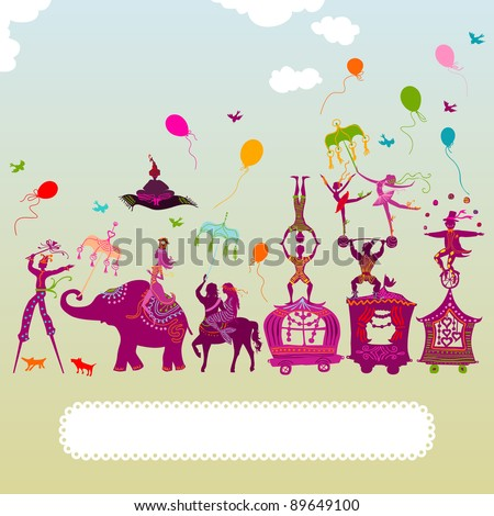 colorful circus caravan with magician, elephant, dancer, acrobat, mermaid and other fun characters - stock vector
