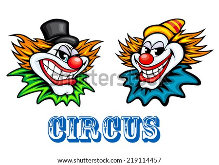 Colorful circus clowns characters dressed in different costumes and hats with big cheesy merry grins - stock vector