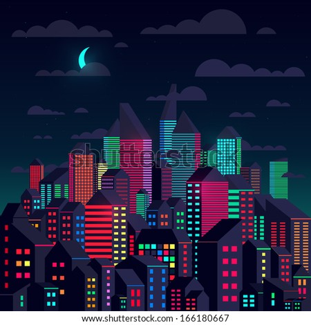 Colorful city at night - stock vector